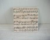 Sheet Music Notes Tile Wine Coaster Trivet, Large Size 6 inch Square Trivet,  Music Pages Trivet