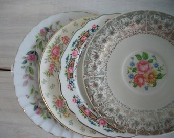 Mismatched China Dessert Plates, China Transferware Plates and Saucers Instant Collection, Pink Floral Wedding Shower China 4 piece set, #05