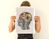 Flowery brain Poster, A3 poster, anatomical art, home decor, Wall art, anatomy art, Giclee poster, Flower poster PSK053