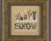 A Little Snow Kit : Lizzie Kate cross stitch patterns linen embellishments Christmas Winter December snowman counted hand embroidery