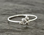 Sterling silver band ring, women's silver stacking ring, silver bee ring, serendipity jewelry, tiny bee ring