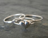 Sterling silver stacking thumb ring SET, silver stackable heart and arrow band ring, women's jewelry, serendipity handcrafted