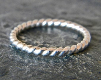 Sterling Silver Stacking Ring - Silver Thumb Ring - Womens Thumb Ring - Silver Twisted Ring - Thumb Ring Sterling Silver - Silver Boho Ring