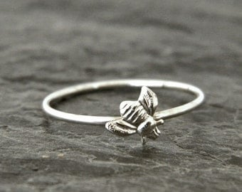 Womens Silver Bee Ring - Tiny Bee Ring - Nature Ring - Honey Bee Ring - Womens Gift - Stacking Ring - Nature Lover Gift - Little Silver Ring