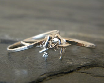Sterling Silver Bird Rings -  Silver Stacking Ring Set - Love Bird Rings - Womens Silver Jewelry -  Stacking Ring Set - Nature Rings - Boho