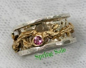 Spinner ring. Pink Tourmaline Sterling silver gold spinner ring (gsr-7138) Tourmaline jewelry, christmas gift ideas