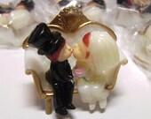 Vintage Kissing Couple Bride & Groom Embellishment Plastic Cupcake Topper - Scrapbooking - ONE Piece