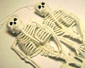 "Two 7"" Soft Plastic Skeleton Prop Halloween Miniature Skull Vintage - Dollhouse Size"