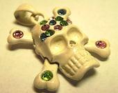 Sparkly Mixed Rhinestone Skull & Crossbones Pendant - Painted Enamel - Glass Rhinestones 90s