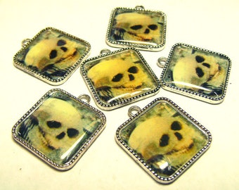 6 Skull Image Charms Settings - Silvertone Squares Pairs - Halloween - Goth