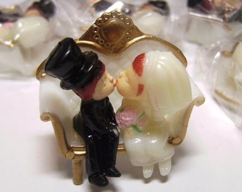 Vintage Kissing Couple Bride & Groom Embellishment Plastic Cupcake Topper - Scrapbooking - ONE Piece