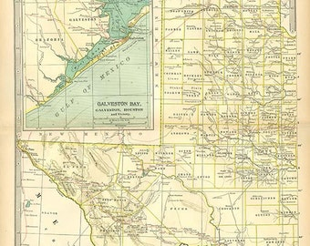 TEXAS Western Part U.S.A. MAP 1897 - Century Atlas  book page 47