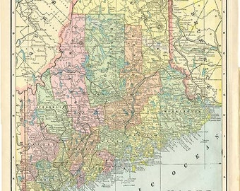 MAINE  U.S.A. STATE Map from 'The Home Knowledge Atlas' Original Double-Sided Book Page