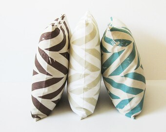 Printed pillow cover, Natural throw pillow, Linen cotton blend Zig zag pillow, Brown pillow, Aqua pillow, Sand or grey decorative pillow
