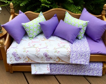 American Girl Doll: Furniture lavender and purple daybed with trundle Paris  Eiffel tower bedding