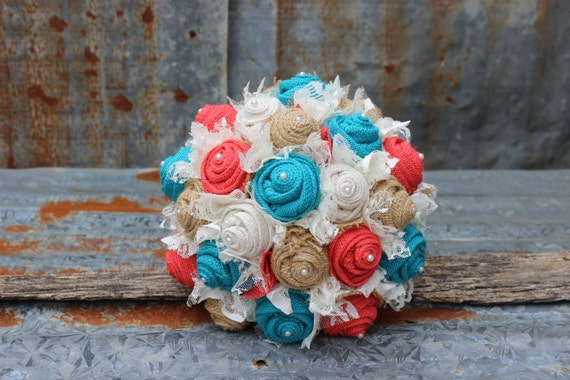 Fabric Bridal Bouquet With Turquoise And Coral Burlap And Lace
