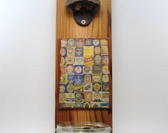 wall mount bottle opener wood mason jar cap catcher beer labels