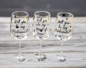 Will you be my Bridesmaid, Maid of Honor, Wine glasses. Will you be my Bridesmaid? Bridesmaid proposal gift idea. Bridesmaid gift wine glass
