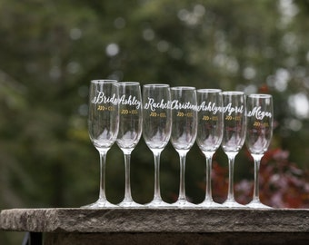 Bridesmaid gift, Bridesmaids gifts. Personalized champagne flutes. Custom glasses with calligraphy font and flourish. Wedding toasting flute