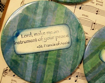 Christian Coasters Set of 4 Lord, Make Me an Instrument of Your Peace St. Francis of Assisi Coasters Housewarming Gift Home Decor
