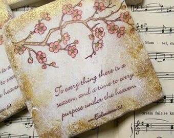 Ecclesiastes 3:1, Christian Art Coasters Set of 4 Scripture Coasters Religious Art, Cherry Blossoms, To Every Thing There is a Season