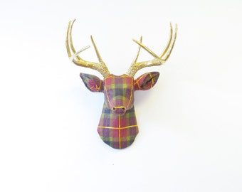 FAUX TAXIDERMY -Plaid Pattern Fabric Deer With Gold Antlers - Faux Taxidermy Deer Head Wall Mount  - Plaid Theme - FAD5408