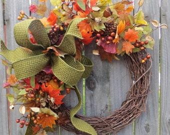 Fall Wreath - Fall / Autumn Wreath - Fall Wreath in Burgundy, Green, Fall / Autumn Door Wreath