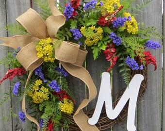 Door Wreath ,Summer Wreath,  Wreath for Spring, Wreath with Monogram, Wreath with Purple Yellow Red, Designer Etsy Wreath, Burlap Wreath