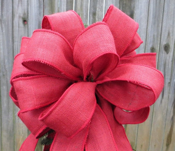 Christmas Tree Topper, Red Burlap Tree Topper - Burlap Tree -  Primitive Country Tree Top Bow in Burlap, Horn's Handmade, Etsy Tree Topper