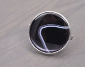 Black Agate Ring, 93ct oversized round mineral silver statement ring - Eve Ring
