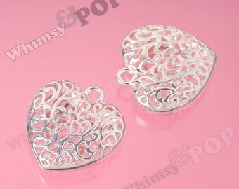 1 - HUGE Filigree Silver Puffy Heart Charm Pendant, Heart Charm, Heart Pendant, 50mm (R9-067)