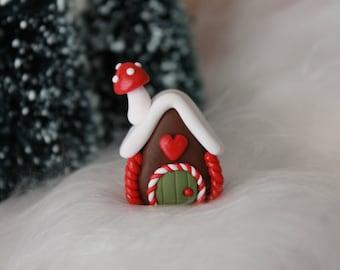 Miniature Gingerbread House - Polymer Clay Gingerbread - Christmas Decor - Miniature Garden - Fairy Garden
