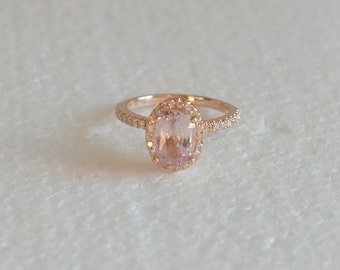 Free shipping   3.07 carat Certified   oval peach sapphire in a rose gold diamonds engagement ring *** Joan-2304