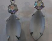 Vintage Camphor Crystal Navettes 15x7 Swarovski Crystal AB in Silver Pendants QTY - 2