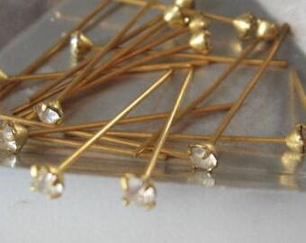 Vintage Crystal Rhinestones 3.45mm prong set on 26mm Brass Headpin QTY - 4