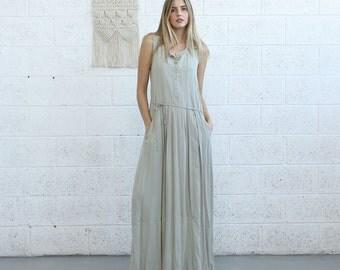 Pleated Maxi Dress, Casual Maxi Dress,ivory.