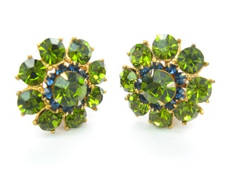 Rhinestone Flower Earrings. Olivine Green and Montana Blue Crystal Clusters. Gold Tone Clips. Vintage 1960s Old Hollywood Jewelry.