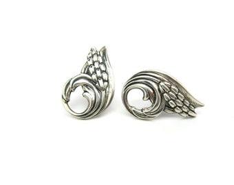"Retro Jewelry. Danecraft Earrings. Sterling Silver Repoussé. Vintage 1950s ""Silver Wheat"" Retro Pattern. Screw Backs, Mid Century"