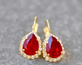 Ruby Red Earrings Swarovski Crystal Leverback Dangles LOVE GIFT for HER Diamond Rhinestone Duchess Halo Mashugana