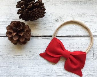Bright Red Bow - Red Folded Sailor Bow Headband - Baby Red Bow Headband or Clip - Bright Red Sailor Bow Headband - Red Baby Bow Clip