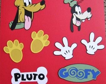 Scrapbook Layout Embellishments - 8 Pieces - Goofy and Pluto - Disney