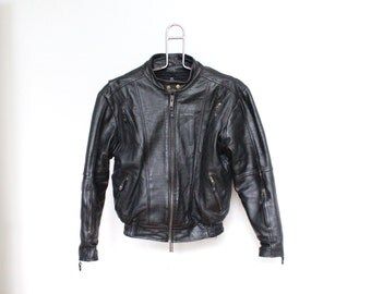 Black Leather Motorcycle Jacket Mens 44 Medium Womens Moto Biker Jacket Punk Coat Heavy Weight Duty Winter Cafe Racer