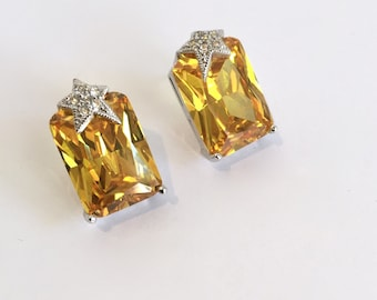 Vintage Silver Citrine Yellow Sapphire and Pave Star Earrings Yellow Stone Multi Stone Estate Earrings Large Stone Earrings Yellow Diamond