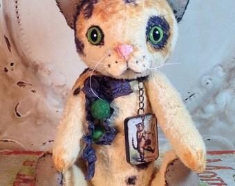 Vintage style Artist  Primitive calico Cat collectible handmade bear type doll Penny Grotz HAFAIR