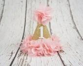 first birthday girl hat, 2nd birthday girls hat, gold birthday hat, 1st birthday hat, baby girl birthday hat, number hat, blush and gold hat