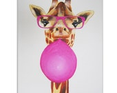 Acrylic Painting on canvas, handpainted, Original Abstract Painting Animal Art by painter Coco de Paris: Giraffe with bubblegum
