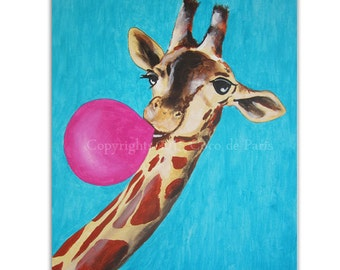 Happy Giraffe Painting, acrylic on streched canvas, animal portrait, Giraffe Decor, Nursery Artwork, Large Artwork, Colorful Wall Art
