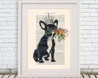 Wall hanging Illustration Drawing portrait painting Illustration Giclee Print Posters Mixed Media Art Acrylic Painting: Bulldog with flowers