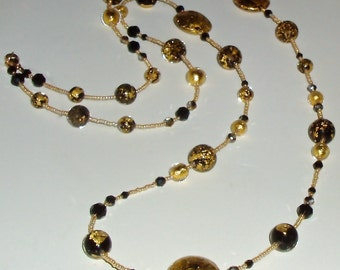 SALE - Stunning Black and Gold Murano Glass Bead and Crystal Necklace