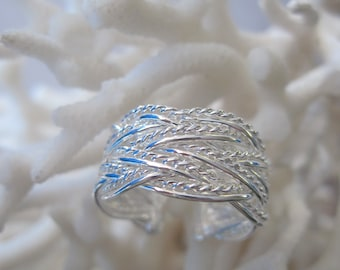 Sterling Silver Adjustable Smooth n Textured Braided Ring